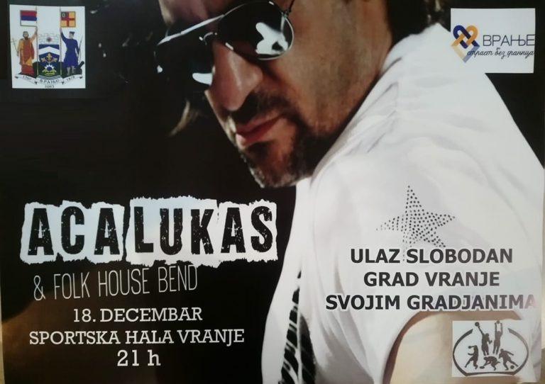 Besplatan koncert Ace Lukasa kao poklon grada svim Vranjancima