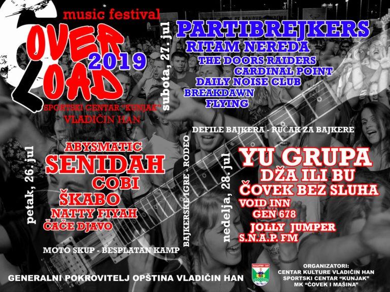 Na Overload festivalu u Vladičinom Hanu nastupaju Partibrejkersi, Ritam Nereda, Yu Grupa…..